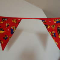 Bunting Construction Boys Flags Red 10 Flags 3 metres 10 foot Double Sided