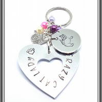 CRAZY CAT LADY HANDSTAMPED KEYRING