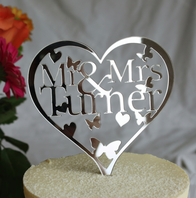 Personalised Heart Mr & Mrs Cake topper