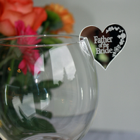 Personalised Wedding table name places for wine, champagne glass in Mirror.