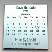 Save the Date magnet - calendar style with an engraved mirror finish.
