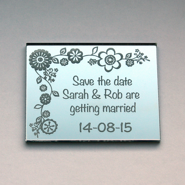 Save the Date magnet with an engraved mirror finish.