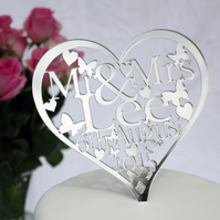 Personalised Heart Mr & Mrs Wedding Cake topper with Name and Date