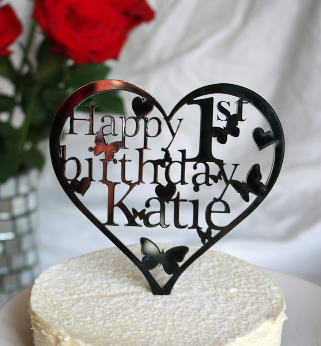Heart Shaped Birthday Cake Topper with ANY Name and Age- 18th,21st,30th,40th....
