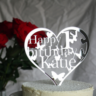 Heart Birthday Cake Topper Decoration with ANY Name and Age 18th,21st,30th,40th.