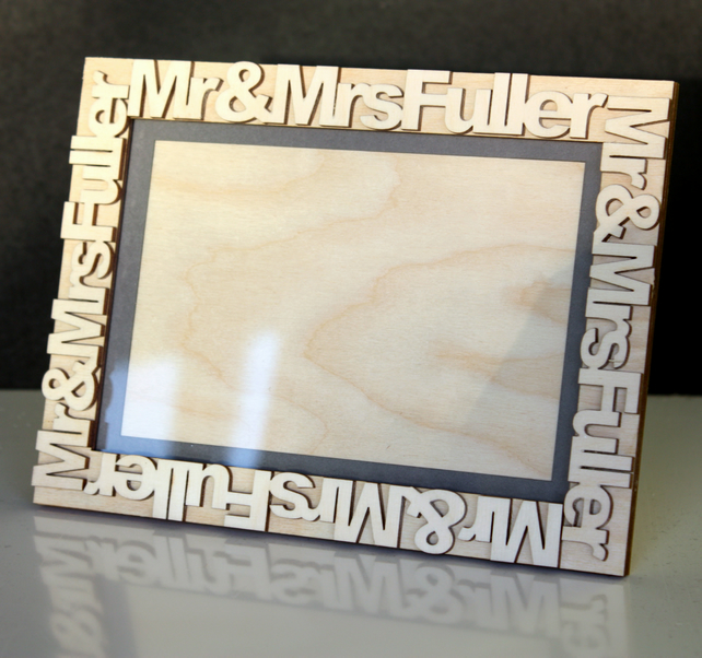 Mr & Mrs Photo Frame in Wood Personalised with any Name