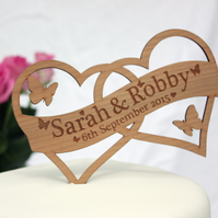Personalised Heart Wedding Cake topper with Name and Date