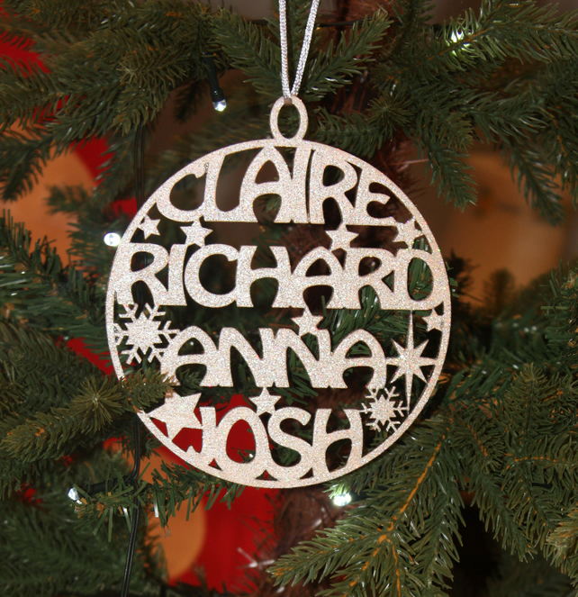 Family names christmas decoration folksy for Decoration names for christmas