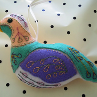 Felt hand stitched and embroidered partridge