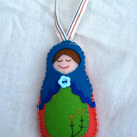 Felt handstitched matryoshka doll