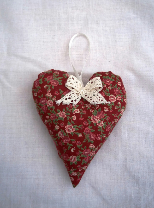 Hanging fabric heart.