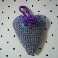 Decorative Crochet Heart with Rose