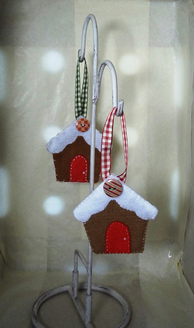 Duo of felt gingerbread houses