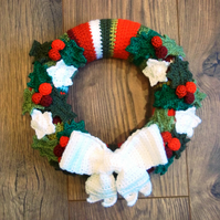 Jolly Holly Crochet Wreath