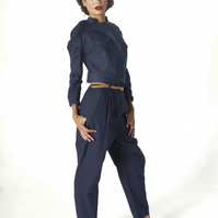 Cropped Pleat Sleeve Biker Jacket in Navy Blue Cotton - MADE TO ORDER