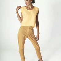 High Waisted Slim Fit Trousers in Burnt Orange Organic Cotton - MADE TO ORDER