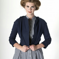 Cropped Biker Jacket with Pleated Sleeve Detail - Navy Blue Cotton