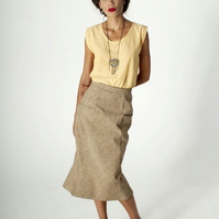 High Waist Pencil Skirt - Tan - Midi - Lined - Organic Cotton - Ethical Fashion