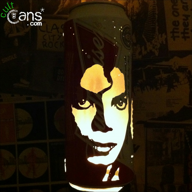 Michael Jackson Beer Can Lantern! Pop Art Portrait Candle Lamp, Thriller, Bad