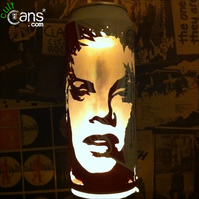 Pink 'P!nk!' Beer Can Lantern! Pop Art Portrait Candle Lamp, Alecia Moore