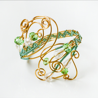Handmade  bracelet cuff ,gold gilt on copper wire,light green