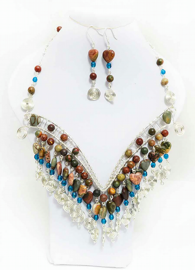 Handmade multistrand Wire Wrapped Picasso Jasper Necklace,earrings and bracelet