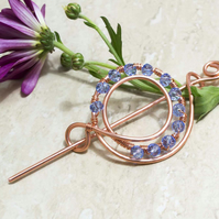 Copper wire Circle shape Hair Barrette, Shawl Pin,Hair Accessories,