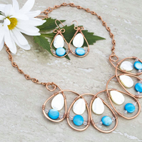 Handmade copper wire wrapped loop Necklace & Earring, Sky & White Shell Top-Dril