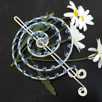 Silver wire spiral hair barrette for hair bun accessories,