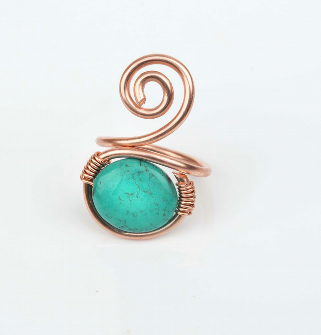 Handmade pure copper ring with Turquoise Puffy Ovals Approx 16x14mm Gemstone.