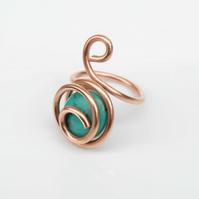 Handmade pure copper caged ring with Turquoise Puffy Ovals  Gemstone.