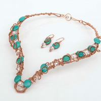 Handmade Necklace, Earrings and Ring,Wrapped Wire Copper necklace set.
