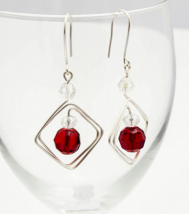 Silver wire earrings,  red faceted beads earrings,  SALE!