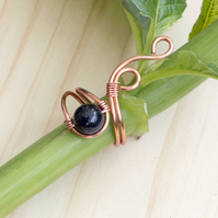 Copper ring jewellery,copper ring-adjustable, wire wrapped copper ring .