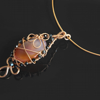 Pure copper wire genuine onyx agate cabochon pendant necklace.Sale!