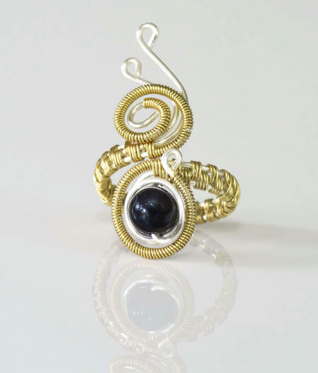 Wire ring jewellery,silver and gold ring-adjustable, wire wrapped gold ring .
