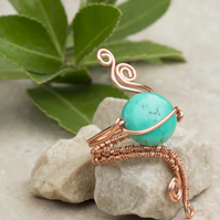wire wrapped pure copper ring with Turquoise Puffy Ovals  Gemstone.