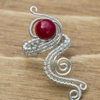 Silver ring jewellery,silver ring-adjustable wire wrapped Red Quartzite ring .