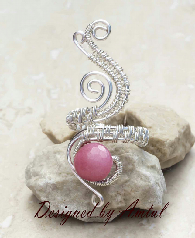 Silver ring jewellery,silver ring-adjustable wire wrapped Pink Quartzite ring .