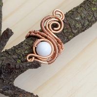 Copper ring ,white jade copper ring-adjustable, wire wrapped copper ring .
