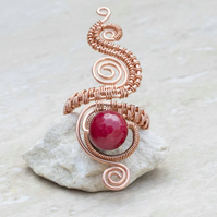 Copper ring ,copper ring-adjustable, wire wrapped Red Quartzite Faceted ring.