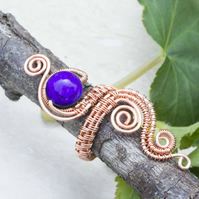 Copper ring ,copper ring-adjustable,  Purple Magnesite Plain Rounds ,