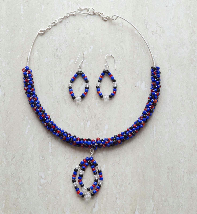 Necklace and earring, blue seed beads necklace set. coiled necklace,       SALE!