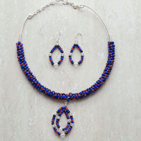 Necklace and earring, blue seed beads necklace set. coiled necklace,