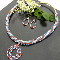 Silver necklace Braided Leather Jewellery set, pendant necklace and earring