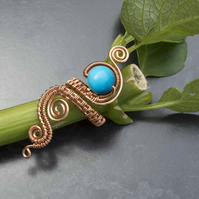 Copper ring with blue magnesite stone, Adjustable gemstone ring