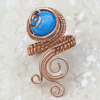 Copper ring ,copper ring-adjustable, wire wrapped Blue Quartzite  ring.