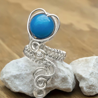 Silver Copper ring , ring-adjustable, wire wrapped Blue Quartzite ring