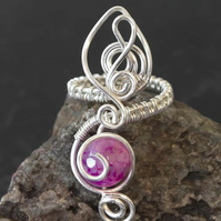 Silver ring,adjustable wire wrapped ring.Roseo dragon vein agate ring-