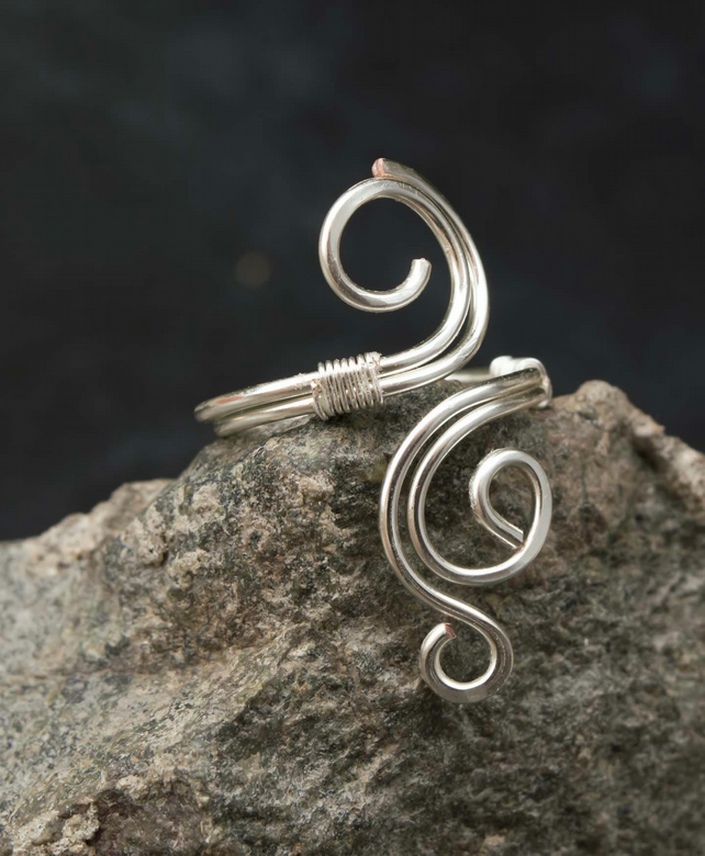 Silver ring jewellery,copper ring-adjustable, wire wrapped silver ring